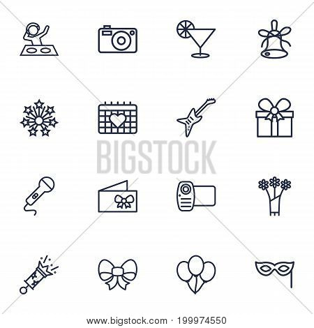 Collection Of Microphone, Electro, Gift And Other Elements.  Set Of 16 Cheerful Outline Icons Set.