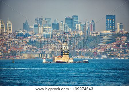 Panoramic view with Bosphorus Maiden's Tower and modern quarters on a background. Istanbul Turkey on APRIL 28 2017