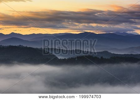 Smoky Mountains on Foggy Morning at Sunrise