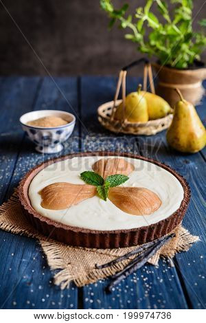 Chocolate Tart With Cottage Cheese And Pears