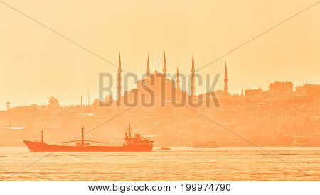 Panoramic view with silhouette of Suleymaniye Mosque in Istanbul Turkey