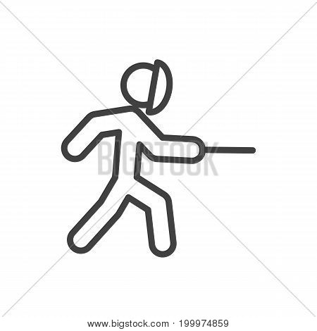 Vector Swordplay Element In Trendy Style.  Isolated Fencing Outline Symbol On Clean Background.