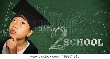Thoughtful girl wearing mortarboard with hand on chin against green background