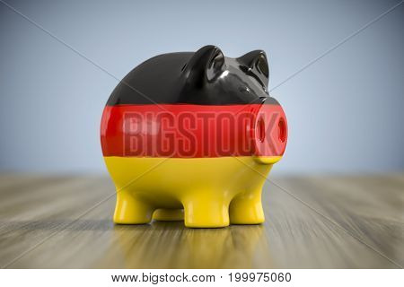 3d illustration of a fat piggy bank in german colors