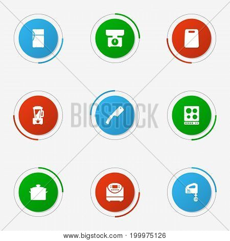 Collection Of Balance, Refrigerator, Blender And Other Elements.  Set Of 9 Cooking Icons Set.