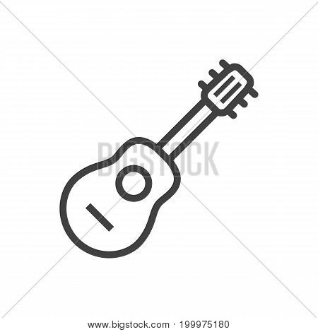 Vector Acoustic  Element In Trendy Style.  Isolated Guitar Outline Symbol On Clean Background.