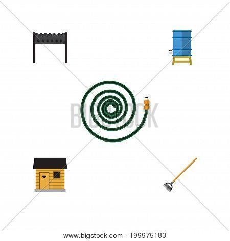 Flat Icon Dacha Set Of Hosepipe, Container, Barbecue And Other Vector Objects