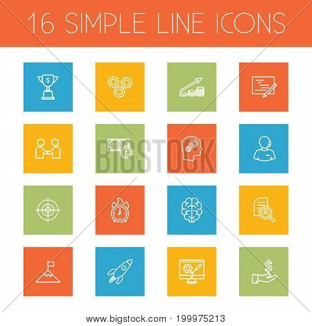 Collection Of Startup, Working Process, Planning And Other Elements.  Set Of 16 Strategy Outline Icons Set.