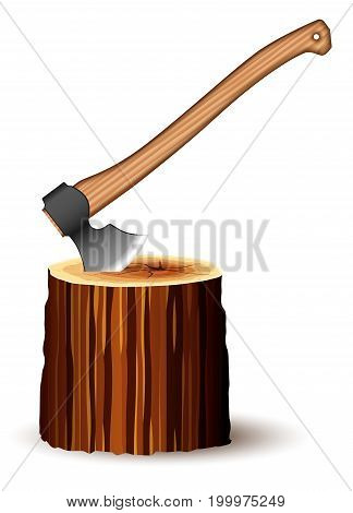 A huge ax with a comfortable wooden handle and a sharp blade. Tool for the work of the builder and carpenter. Side view. Stuck in the stump.