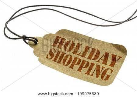 holiday shopping sign - a paper price tag with a twine isolated on white