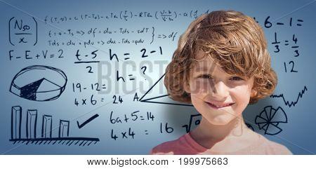 Portrait of smiling boy with brown hair against purple vignette