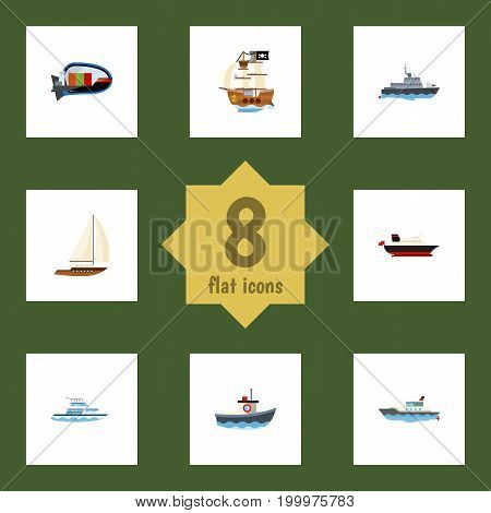 Flat Icon Vessel Set Of Cargo, Boat, Yacht And Other Vector Objects