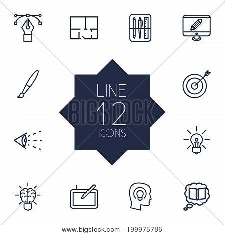 Collection Of Brain, Drawing Tools, Monitor And Other Elements.  Set Of 12 Creative Outline Icons Set.