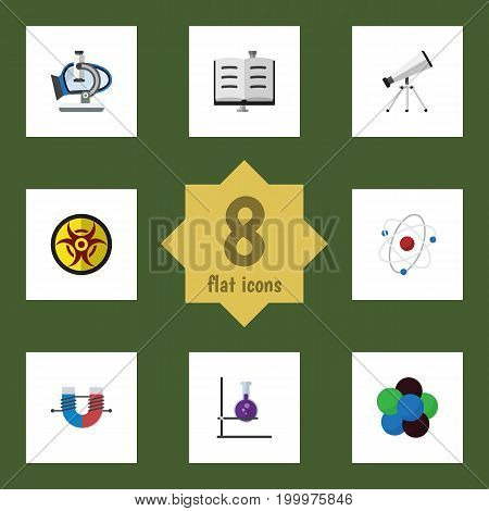 Flat Icon Knowledge Set Of Glass, Proton, Orbit And Other Vector Objects