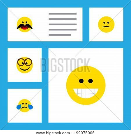 Flat Icon Expression Set Of Displeased, Grin, Cold Sweat And Other Vector Objects