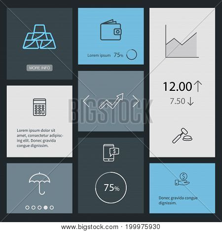 Collection Of Wallet, Golden Bars, Savings And Other Elements.  Set Of 8 Budget Outline Icons Set.