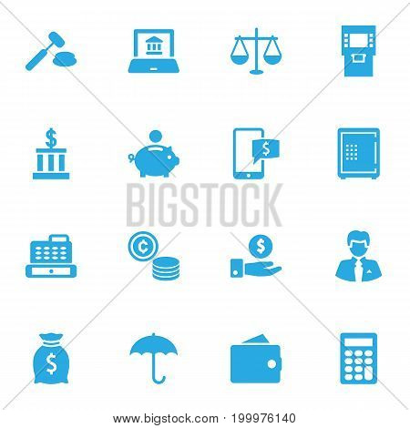 Collection Of Strongbox, Sack, Online Banking And Other Elements.  Set Of 16 Finance Icons Set.