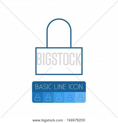 Padlock Vector Element Can Be Used For Padlock, Lock, Safe Design Concept.  Isolated Lock Outline.