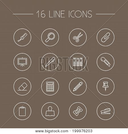 Collection Of Cutter, Calculator, Puncher And Other Elements.  Set Of 16 Instruments Outline Icons Set.