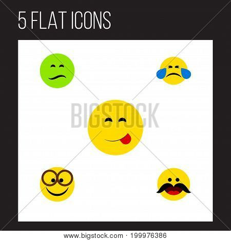 Flat Icon Gesture Set Of Cheerful, Pleasant, Cold Sweat And Other Vector Objects