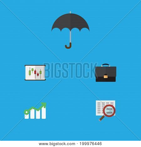 Flat Icon Incoming Set Of Growth, Portfolio, Parasol And Other Vector Objects