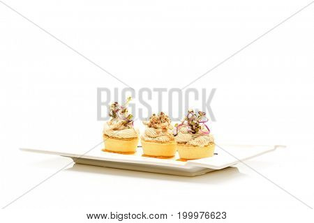 fancy food arrangement with healthy roe salad and wheat germs isolated on white background