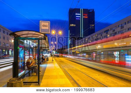 GDANSK, POLAND - AUGUST 11, 2017: Traffic lights of Grunwaldzka Avenue in Gdansk at night, Poland. Grunwaldzka Avenue is the main transport artery of the Tri-City.