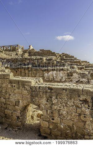 Ancient roman bathhouse remnants in Caesarea harbor national park