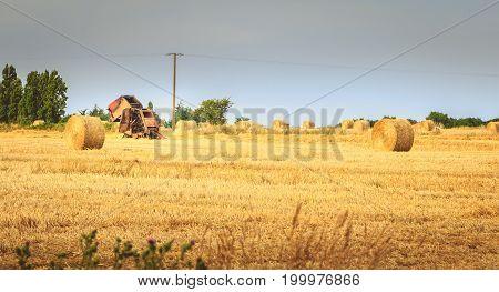 Remains Of A Round Baler After A Fire