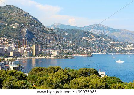 Sea coast of Monaco Principality and France