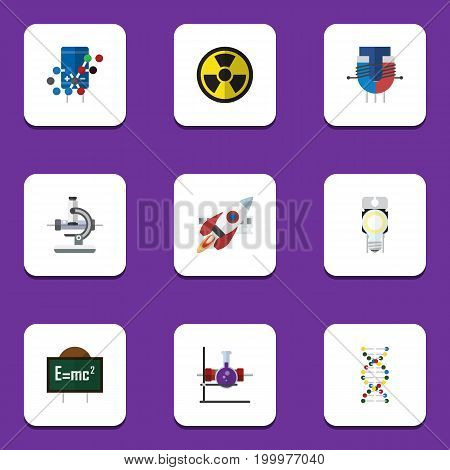 Flat Icon Knowledge Set Of Lightbulb, Attractive Force, Genome And Other Vector Objects