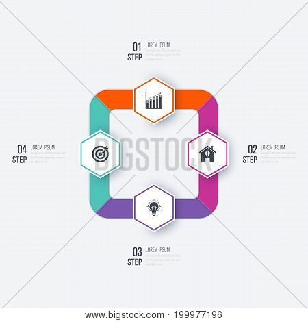 Business infographics template 4 steps with hexagon. Can be used for workflow layout, diagram, number options, web design, presentations
