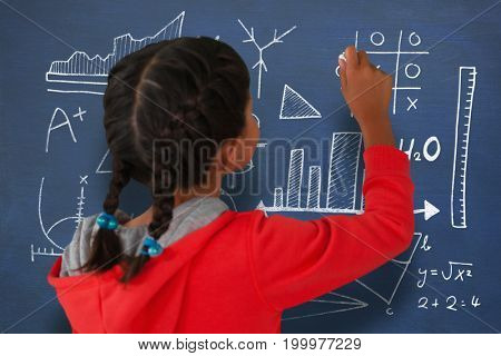 Rear view of girl with braided hair holding chalk against mathematical equations with bar graph