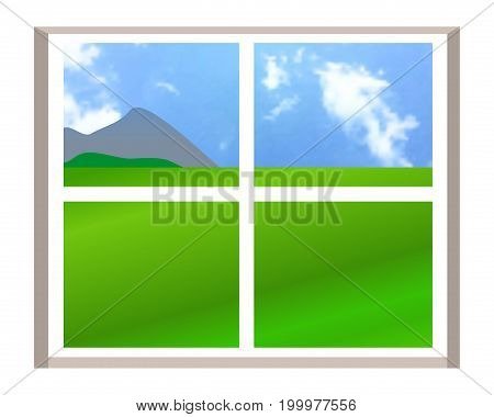 Window with a landscape view. Illustration over white background. Vector.