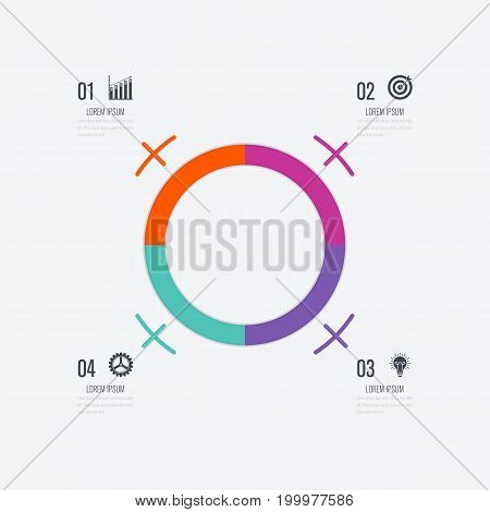 Infographics template 4 options with circles. Can be used for workflow layout, diagram, number options, step up options, web design, presentations