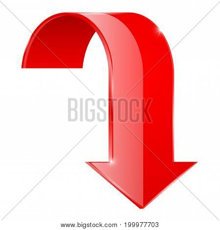 Red curved DOWN arrow. 3d icon. Vector illustration isolated on white background