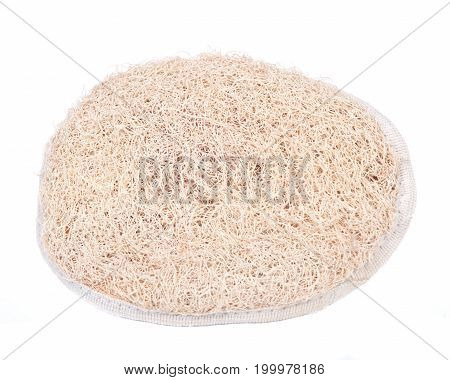 Loofah body bath scrubber sponge isolated on white background
