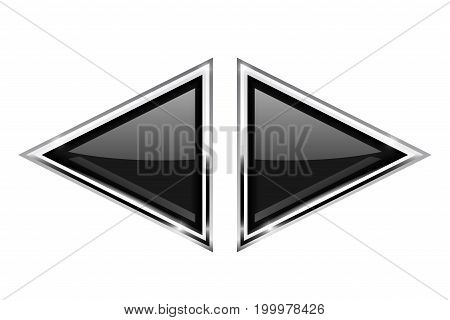 Black triangle buttons with metal frame. Vector 3d illustration isolated on white background
