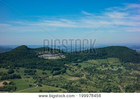 This is the view from the viewpoint of the castle Burg Hohenneuffen on a summer day with blue sky