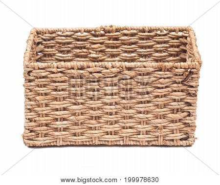 Vintage seagrass storage basket isolated on white background