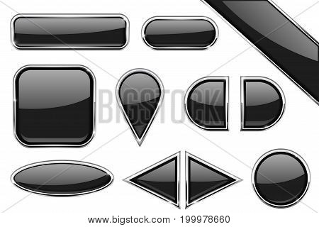 Set of black glass buttons with metal frame. Vector 3d illustration isolated on white background