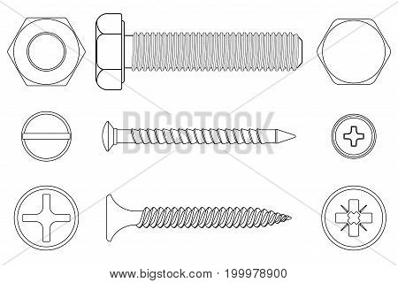Bolt, screws and nut. White outline icons. Vector illustration isolated on white background