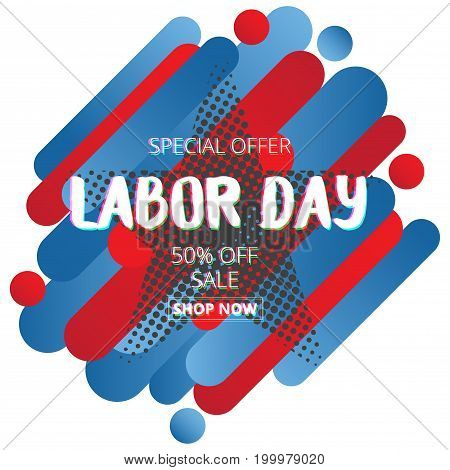 Labor day sale promotion advertising banner with color of American flag .American labor day wallpaper.halftone effect.Vector illustration .