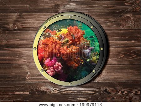The ship window with colorful coral reef in tropical sea, underwater at tropical sea or ocean island. Travel and adventure concept.