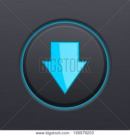 DOWN arrow black button. Vector 3d illustration