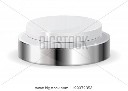 White push button with metal base. Vector illustration isolated on white background