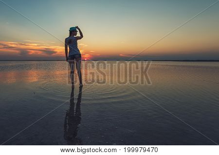 Beauty sunset on salty lake in Altay, Siberia, Russia