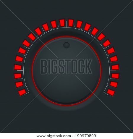 Volume switch. Black round button knob. Vector illustration