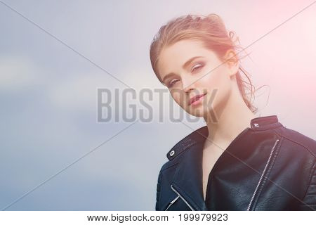 Girl In Leather Jacket.