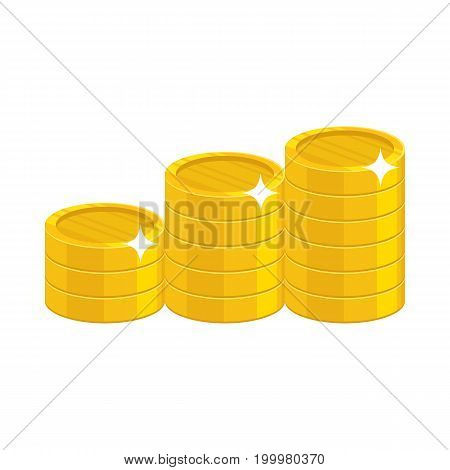 Cartoon gold coins. Having a lot of money and possessions symbol. Business finance and economy concept. Cartoon vector illustration isolated on white background